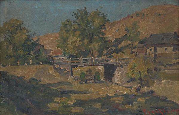 František Gyurkovits - Krajina s mostom