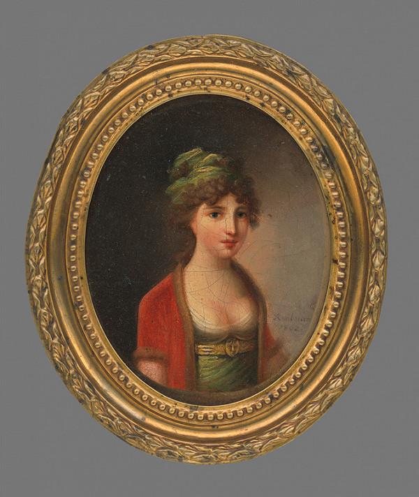 Ján Rombauer – Miniatúrna podobizeň dámy v červenom kabátku