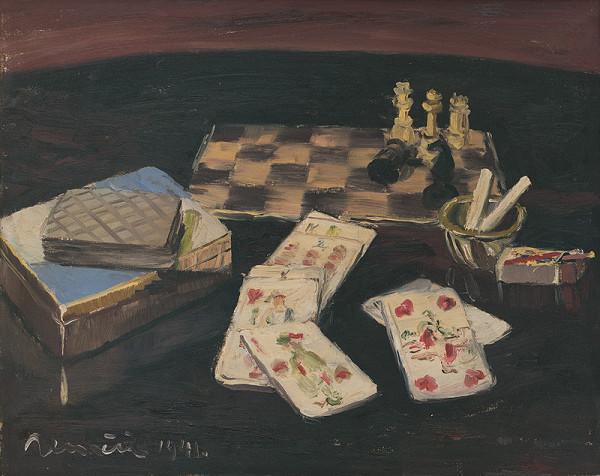 Július Nemčík – Zátišie s kartami