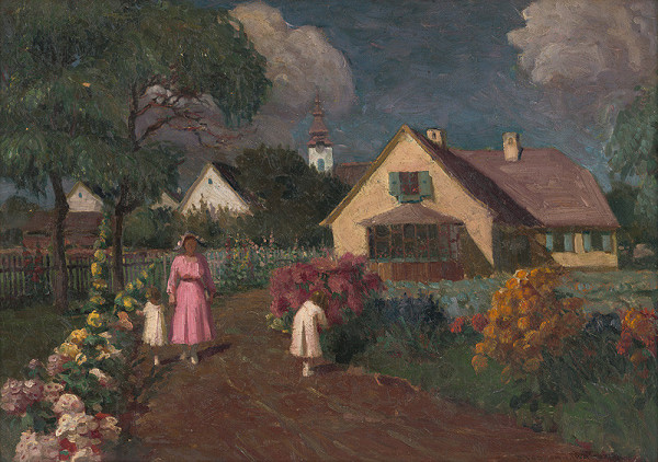 Teodor Jozef Mousson – Manželka a deti autora v záhrade