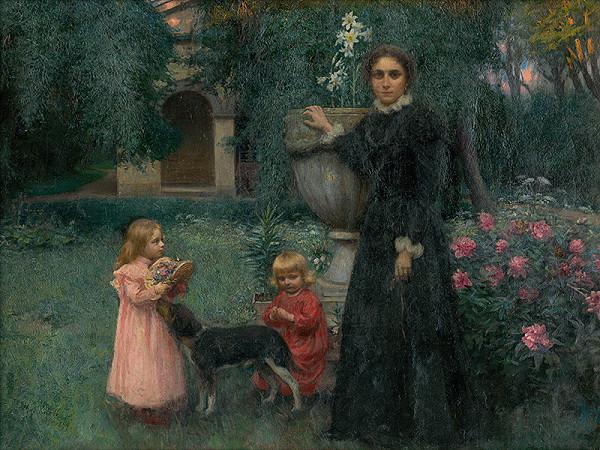 Maximilián Kurth – Umelcova manželka s deťmi v záhrade