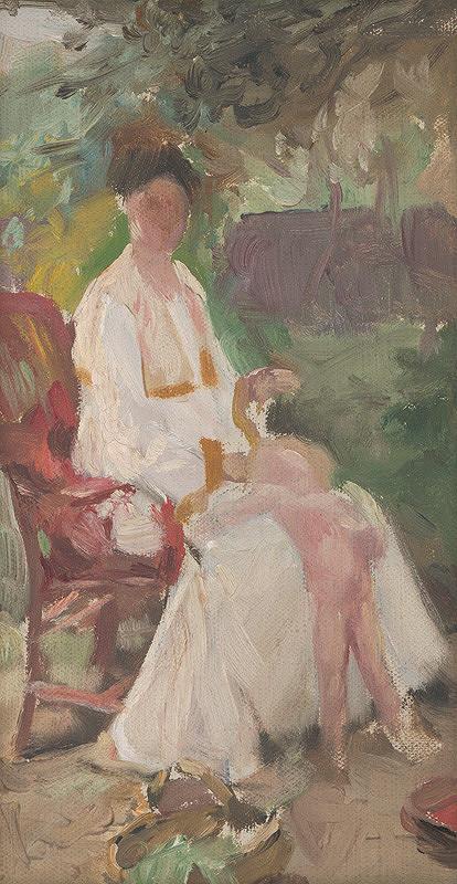 Maximilián Kurth – Štúdia k obrazu Umelcova manželka s dieťaťom