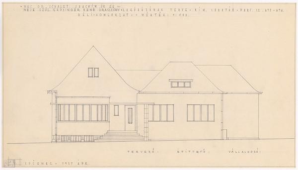Oskár Winkler - Rodinný dom Dr. Schaleta v Rimavskej Sobote. Pohľad z dvora. M 1:100.