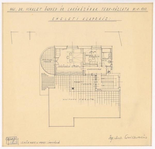 Oskár Winkler - Rodinný dom Dr. Schaleta v Rimavskej Sobote. Pôdorys poschodia. M 1:100.