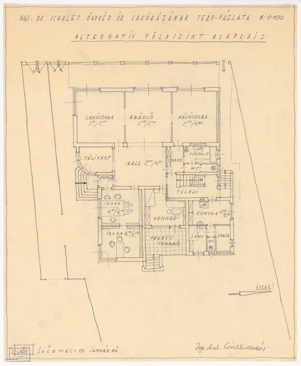 Oskár Winkler - Rodinný dom Dr. Schaleta v Rimavskej Sobote. Pôdorys prízemia. Alternatíva. M 1:100.