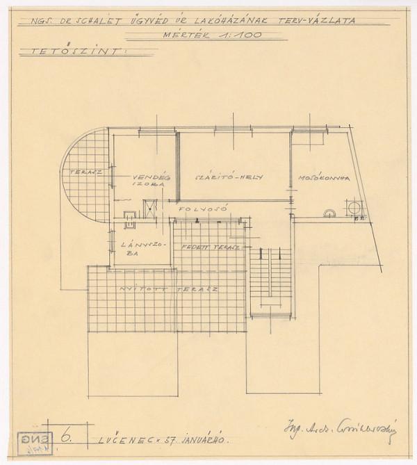 Oskár Winkler - Rodinný dom Dr. Schaleta v Rimavskej Sobote. Pôdorys poschodia. Alternatíva. M 1:100.