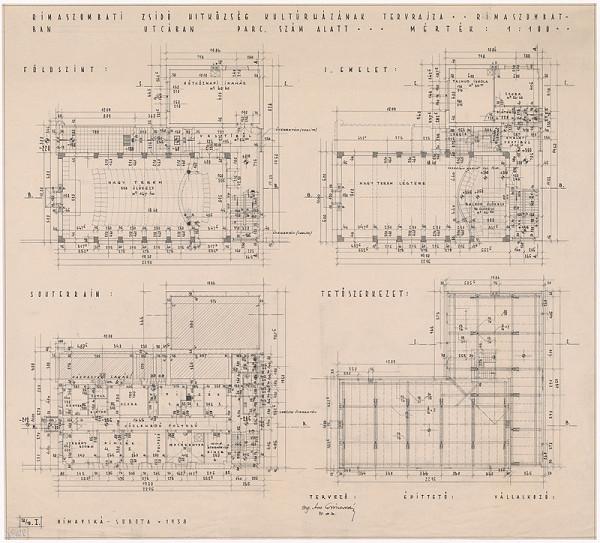 Oskár Winkler - Kultúrny dom židovskej náboženskej obce v Rimavskej Sobote. Pôdorys suterénu, prízemia, 1. poschodia a podkrovia. M 1:100.