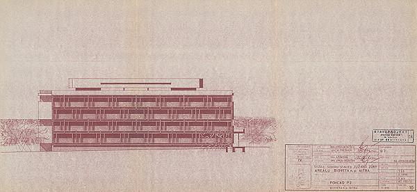 Vladimír Dedeček – Areál Bioveta v Nitre. Štúdia súboru stavieb južnej zóny areálu. Pohľad P2. M 1:200.