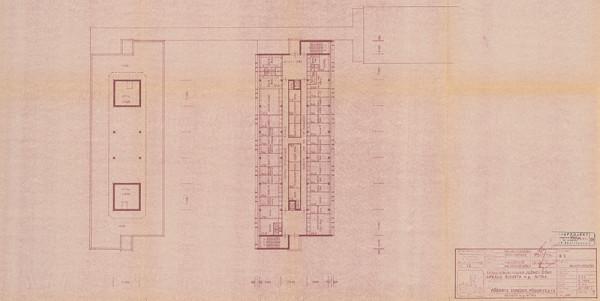 Vladimír Dedeček - Areál Bioveta v Nitre. Štúdia súboru stavieb južnej zóny areálu. Pôdorys strechy, pôdorys p+4. M 1:200.
