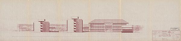 Vladimír Dedeček – Areál Bioveta v Nitre. Štúdia súboru stavieb južnej zóny areálu. Pohľad P1. M 1:200.