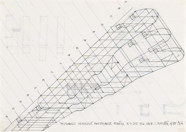 Ivan Matušík - Bytový dom Triangolo v Nitre. Štúdia. Modulová priestorová schéma. M 1:200.