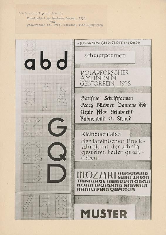 Ladislav Foltyn – Schriftproben. Konstruiert am Bauhaus Dessau, 1930. und geschrieben bei Prof. Larisch, Wien 1928/1929.
