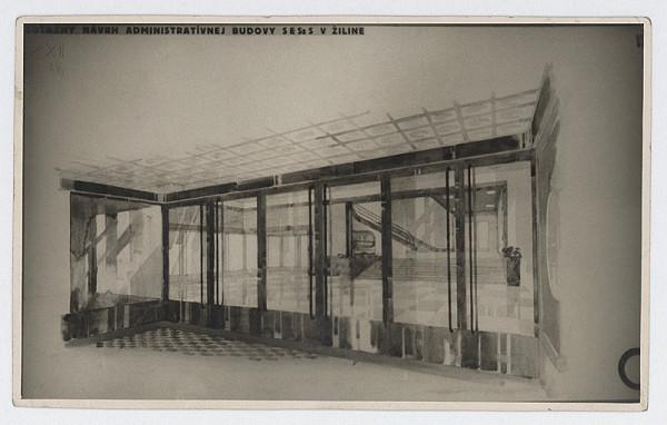 Ferdinand Čapka - Administratívna budova Slovenských elektrární v Žiline. Súťažný návrh. Vstupná hala.