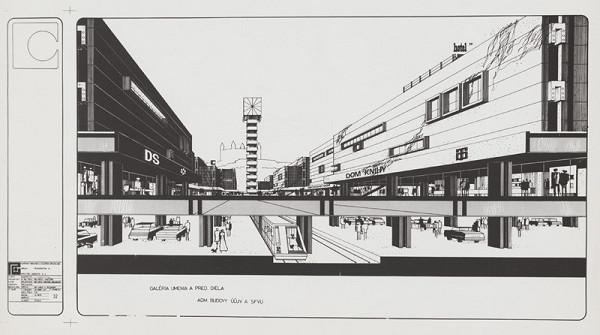 Rajmund Müller – Mestské centrum na Obchodnej ulici v Bratislave. Návrh, perspektíva III.