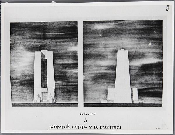 Ladislav Beisetzer, Neznámy autor – Súťaž na pomník SNP na Bánoši v Banskej Bystrici. Perspektíva exteriéru: čelný a bočný pohľad (M1:50)