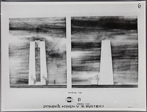 Ladislav Beisetzer, Neznámy autor - Súťaž na pomník SNP na Bánoši v Banskej Bystrici. Perspektíva exteriéru: čelný a bočný pohľad (M1:50), pôdorys (M1:200)