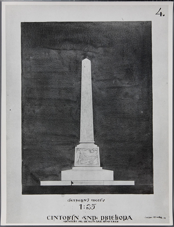 Ladislav Beisetzer, Neznámy autor – Cintorín SNP v Priekope. Pohľad na obelisk (M1:25)
