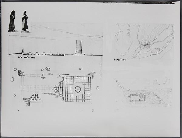 """Ladislav Beisetzer, Ladislav Snopek, Imrich Vysočan, Neznámy autor – Pomník SNP """"Vápenka"""" v Nemeckej. Situácia (M1:5000), pôdorys, bočný pohľad (M1:100), fotografia modelu."""