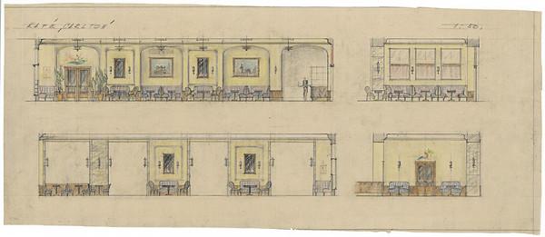 Milan Michal Harminc - Hotel Carlton-Savoy v Bratislave. Café Carlton. Pohľady. M 1:50.