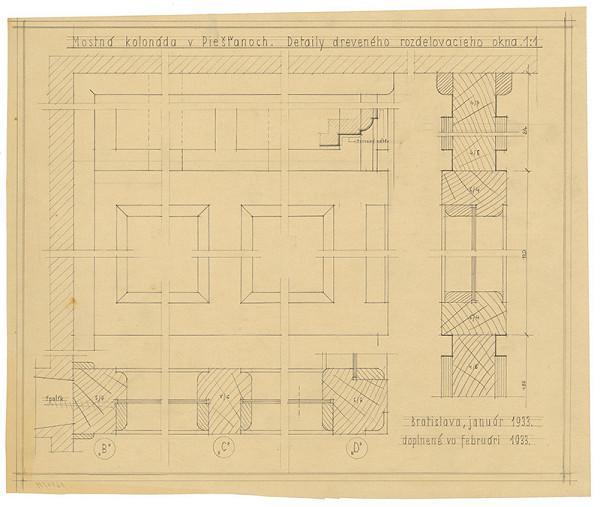 Emil Belluš - Železobetónový krytý kúpeľný most v Piešťanoch. Detaily dreveného rozdeľovacieho okna. M 1:1.
