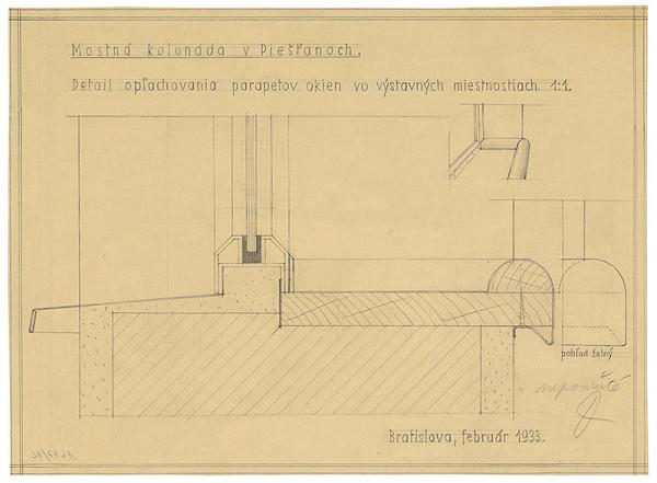 Emil Belluš - Železobetónový krytý kúpeľný most v Piešťanoch. Detail oplechovania parapetov okien vo výstavných miestnostiach. Čelný pohľad. M 1:1.