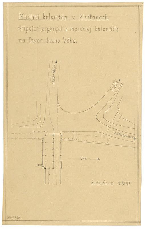 Emil Belluš - Železobetónový krytý kúpeľný most v Piešťanoch. Pripojenie pergol k mostnej kolonáde na ľavom brehu Váhu. Situácia. M 1:500.