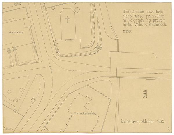 Emil Belluš - Železobetónový krytý kúpeľný most v Piešťanoch. Umiestnenie osvetľovacieho telesa pri vyústení kolonády na pravom brehu Váhu. Situácia. M 1:250.