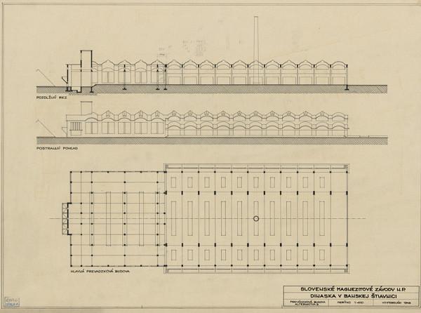 Emil Belluš - Magnezitové závody Dinas v Banskej Belej. Prevádzková budova, Alternatíva 3. M 1:400.