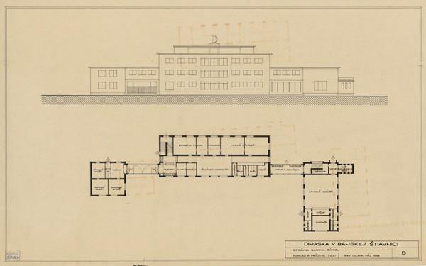 Emil Belluš - Magnezitové závody Dinas v Banskej Belej. Správna budova závodu, pohľad a pôdorys prízemia. M1:200.