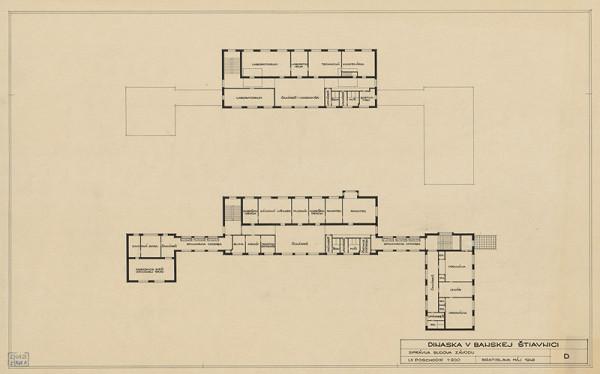 Emil Belluš - Magnezitové závody Dinas v Banskej Belej. Správna budova závodu, pôdorys 1. a 2. poschodia. M1:200.