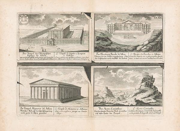 Johann Bernhard Fischer von Erlach, Johann Ulrich Krauss - Pohľad na dva antické chrámy, divadlo a akropolu