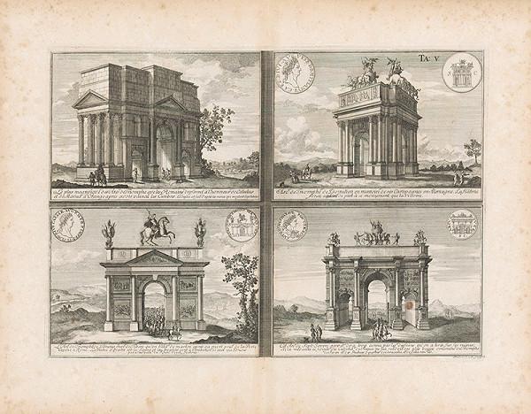 Johann Bernhard Fischer von Erlach, Johann Adam Delsenbach – Pohľad na štyri víťazné oblúky