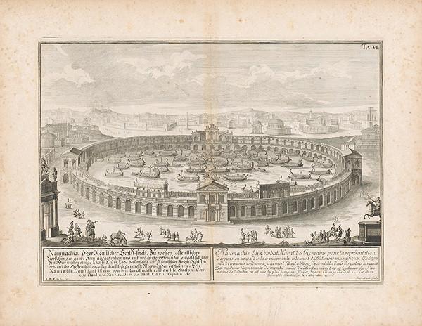 Johann Bernhard Fischer von Erlach, Johann Adam Delsenbach – Zobrazenie Naumachie - rímskeho boja lodí