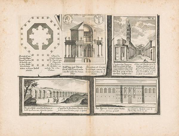 Johann Bernhard Fischer von Erlach - Zobrazenie pôdorysu, prierezu a pohľadov na rôzne architektúry