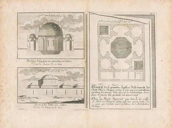 Johann Bernhard Fischer von Erlach – Pôdorys, prierez a pohľad na budovu arabských kúpeľov