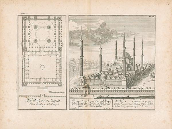 Johann Bernhard Fischer von Erlach – Pohľad mešitu veľkého sultána Ahmeda v Konštantínopole
