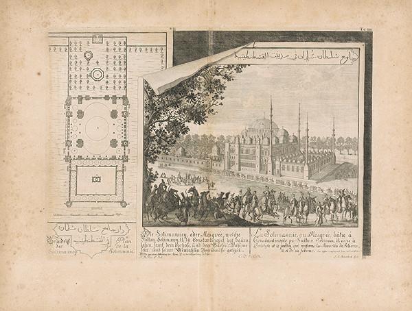 Johann Bernhard Fischer von Erlach, Johann Adam Delsenbach – Pohľad na Sulejmanovu mešitu v Konštantínopole