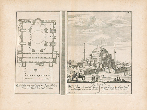 Johann Bernhard Fischer von Erlach, Johann Adam Delsenbach – Pohľad na Hagiu Sofiu v Konštantínopole