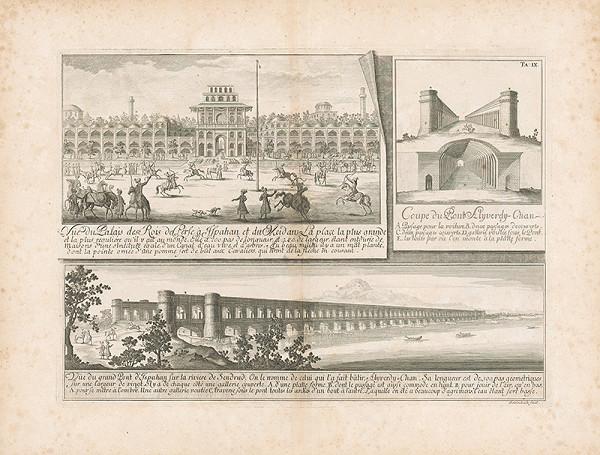 Johann Bernhard Fischer von Erlach, Johann Adam Delsenbach - Pohľad na palác a dva mosty