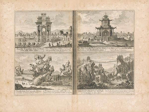 Johann Bernhard Fischer von Erlach, Johann Adam Delsenbach – Pohľad na štyri čínske architektúry
