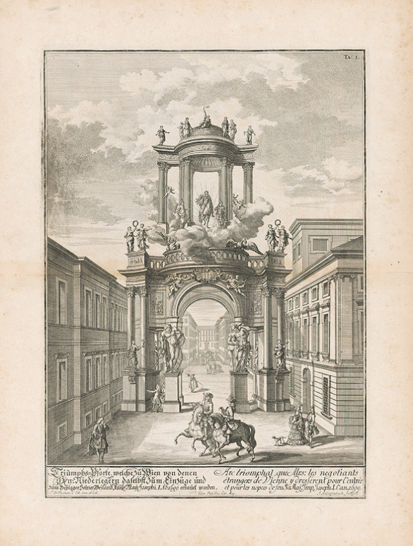 Johann Bernhard Fischer von Erlach, Johann Adam Delsenbach – Pohľad na viedenský triumfálny oblúk