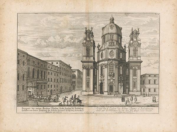 Johann Bernhard Fischer von Erlach - Pohľad na fasádu nového kostola v Salzburgu