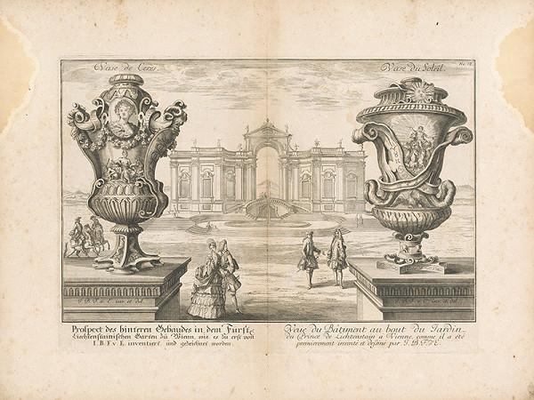 Johann Bernhard Fischer von Erlach - Pohľad na zadnú budovu vo Fürste Lichtensteinische Garten vo Viedni