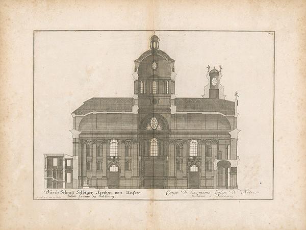 Johann Bernhard Fischer von Erlach - Prierez nového chrámu v Paríži
