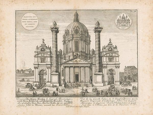 Johann Bernhard Fischer von Erlach - Pohľad na kostol Sv. Karola Boromejského vo Viedni