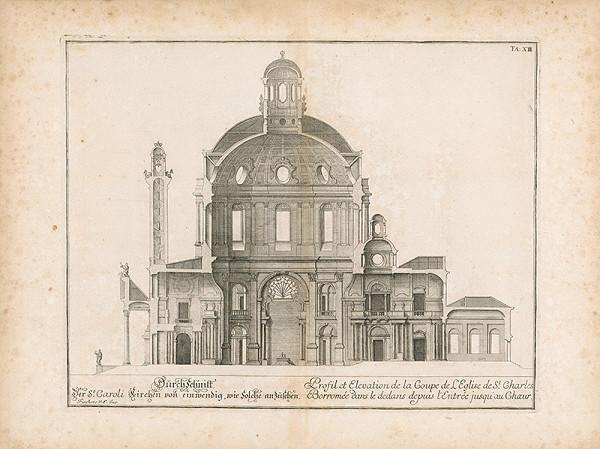 Johann Bernhard Fischer von Erlach - Prierez kostola Sv. Karola Boromejského vo Viedni