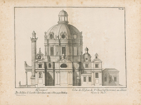 Johann Bernhard Fischer von Erlach - Pohľad na bočnú stranu kostola Sv. Karola Boromejského vo Viedni