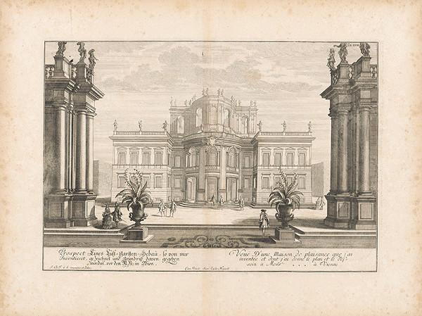 Johann Bernhard Fischer von Erlach - Pohľad na záhradu Lusthausu vo Viedni
