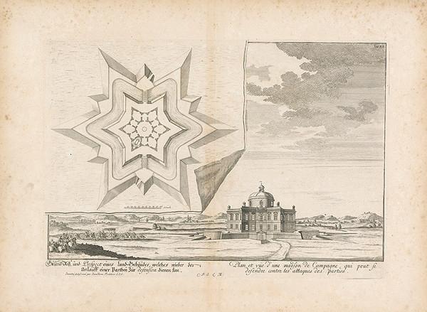 Johann Bernhard Fischer von Erlach - Pôdorys a pohľad na budovu v krajine