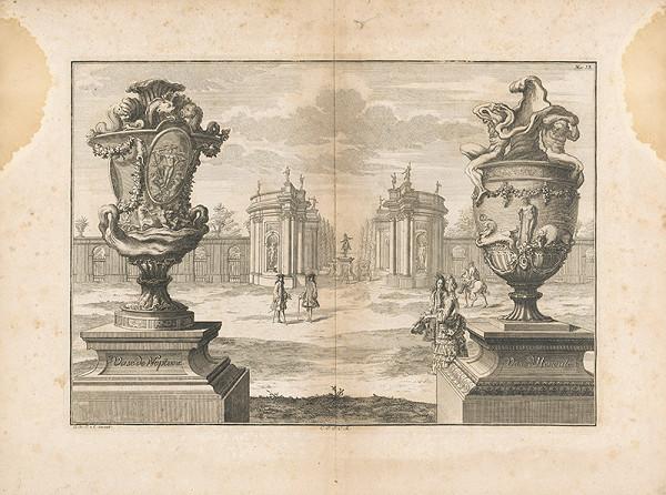 Johann Bernhard Fischer von Erlach - Pohľad do záhrady s architektúrou